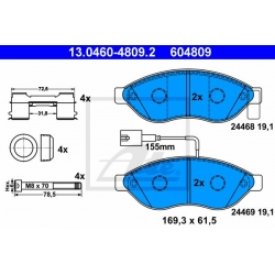 KLOCKI HAM. CITROEN P. JUMPER 2,0-3,0 HDI 06- ŁAD 1600KG 2 CZUJNIKI