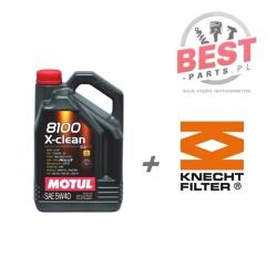 MOTUL X-CLEAN 5W40 7L + FILTR OLEJU KNECHT OC 485