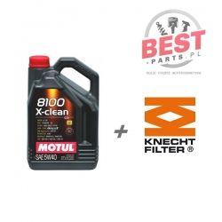 MOTUL X-CLEAN 5W40 10L + FILTR OLEJU KNECHT OX 381D AUDI A4 A5 A6 A8 Q5 Q7 3,2FSI TFSI 05-